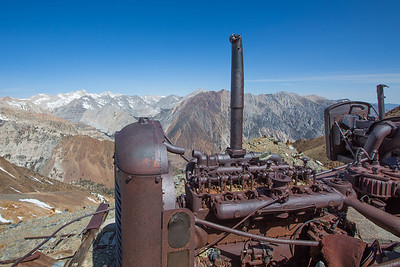abandoned machinery at Tungstar Mines